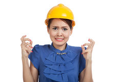 Asian engineer woman is angry , upset Stock Image