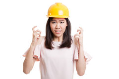 Asian engineer woman is angry , upset. Royalty Free Stock Image