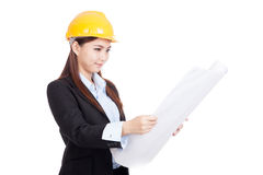 Asian engineer woman with blueprints Stock Image