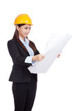 Asian engineer woman with blueprints Royalty Free Stock Image