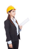 Asian engineer woman with blueprints Stock Photo