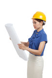 Asian engineer woman with blueprints Royalty Free Stock Images