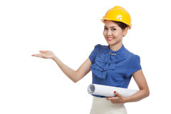 Asian engineer woman with blueprints show her palm hand Royalty Free Stock Images