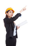 Asian engineer woman point up with blueprints Royalty Free Stock Photography