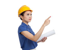 Asian engineer woman pointing with blueprints Stock Photography