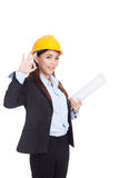 Asian engineer woman show OK with blueprints Royalty Free Stock Images