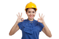 Asian engineer woman show OK with both hands Royalty Free Stock Images