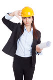 Asian engineer woman thumbs down with blueprints Stock Images