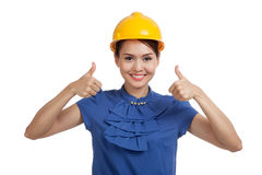 Asian engineer woman thumbs up with both hands Stock Photography