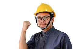 Asian engineers man fist Ready to fight stock image