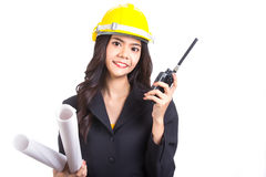 Asian Enigeer hold radio FM for call and work Royalty Free Stock Photo
