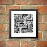 Asian ethnic doodle black and white pattern. Brick Stock Images