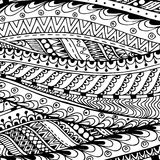 Asian ethnic doodle black and white pattern in Royalty Free Stock Photo
