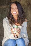 Asian Eurasian Girl Woman on Hay Bale Drinking Coffee Tea Royalty Free Stock Image
