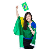 Asian excited woman drape with Brazil flag Royalty Free Stock Photography