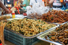 Asian exotic food. Exotic food, one of the extreme Asian tourisme attraction. Night market in Bangkok, Thailand Royalty Free Stock Photos