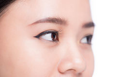 Asian eye woman eyebrow eyes lashes over white. Asian eye woman eyebrow eyes lashes over white Royalty Free Stock Images