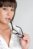 Asian Eyeglasses Girl. Pretty asian girl with eyeglasses stock photos