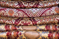 Asian fabric stack Stock Photo