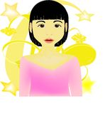 Asian face. An Asian, oriental face of girl with yellow flower and star background Royalty Free Stock Photos