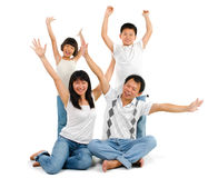 Asian family arms up Royalty Free Stock Images