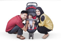 Asian family with baby stroller Stock Images