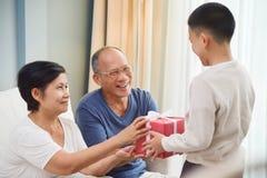 Asian Family with Birthday, Christmas and New year fotografía de archivo libre de regalías