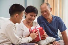 Asian Family with Birthday, Christmas and New year imágenes de archivo libres de regalías