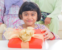 Asian family birthday present Royalty Free Stock Image