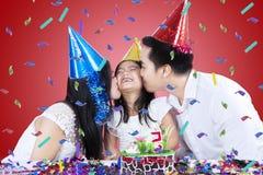 Asian family celebrate birthday Stock Photos