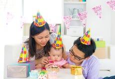 Asian family celebrating baby full moon party Stock Image
