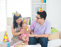 Asian family celebrating birthday Stock Image