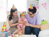 Asian family celebrating birthday Royalty Free Stock Photography