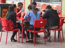 Asian couples are eating together in Chinatown in Adelaide, Australia  Stock Images