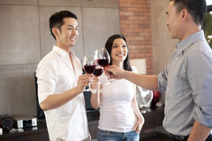 Asian family with friend with a glass ofwine Stock Image