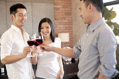 Asian family friend with wine Stock Photo