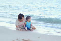 Asian family fun. At the beach Royalty Free Stock Image