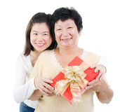 Asian family and gift box Royalty Free Stock Image