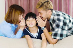 Asian family. Happy asian family in the living room stock image