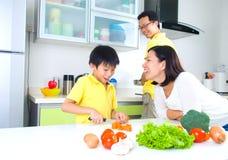 Asian Family Kitchen Lifestyle Stock Photography