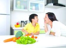 Asian Family Kitchen Lifestyle stock photo