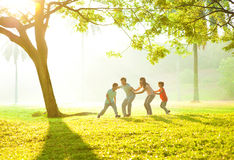 Asian family outdoor fun Stock Photos
