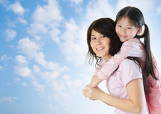Asian family outdoor fun. Royalty Free Stock Images