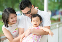 Asian family at outdoor park Stock Photography