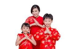 Asian family over white Royalty Free Stock Photography