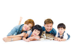 Asian family and pet. Portrait of asian family and their pet on white background Royalty Free Stock Images