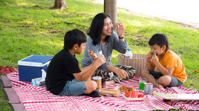 Asian family picnic. Eating happy fun prak outdoor grass vacation mother son royalty free stock photography