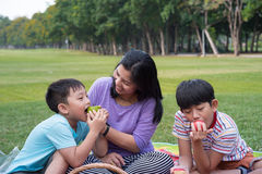 Asian family picnic Stock Images