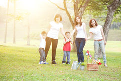 Group of Asian family outdoors royalty free stock photography