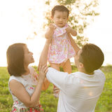 Asian family playing at outdoor Royalty Free Stock Photos